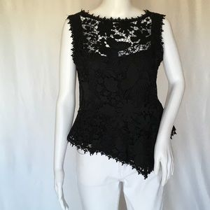NANETTE LEPORE WOMAN EMBROIDERED TOP SIZE 6 BLACK